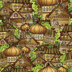 Мультфильм сказка рисования деревня — Stock Illustration #47367303