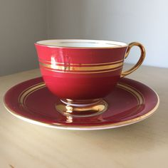 Aynsley Vintage Teacup and Saucer, Red and Gold Stripe Tea Cup and Saucer, English China by CupandOwl on Etsy