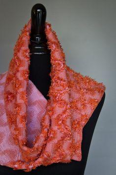 Handwoven, Coral, Orange & Pink, Unique, Reversible Eyelash Scarf.