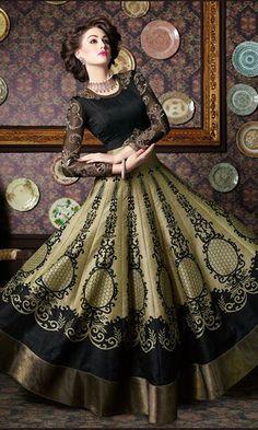 Green and Black Hued #Partywear #Anarkali Suit - SUEBRVIO6536_4702