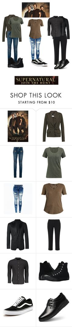 """Supernatural"" by catthepunisher ❤ liked on Polyvore featuring Maison Margiela, Balmain, Monrow, ATM by Anthony Thomas Melillo, Dsquared2, Converse and Vans"