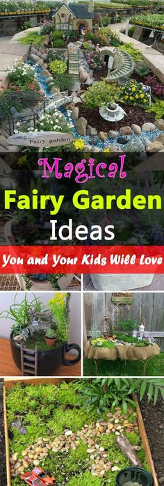 18 Magical Fairy Garden Ideas--The kids will love them, and you too. These cute looking fairy gardens are really amazing. They're inexpensive also and you can easily make them from unused, recycled materials.