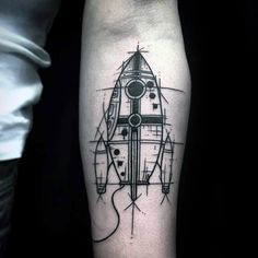Sketched Rocket Ship Mens Inner Forearm Tattoo