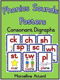 PHONICS SOUNDS POSTERS- Consonant Digraphs and blends- FLASHCARDS OR DISPLAYS