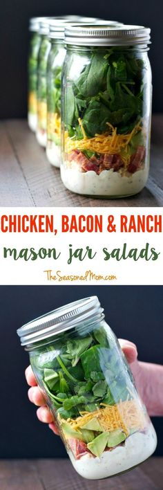 Chicken Bacon and Ranch Mason Jar Salads | Easy Lunch Recipes | Lunch Ideas | Lunch Box Ideas for Adults | Lunches | Salads | Chicken Recipes | Salad Recipes | Mason Jar Meals | Mason Jar Recipes