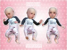 """georgiaglm: """" ⏩ Baby bear pink ⏪ ⏩ Here is a recolour of my baby bear outfit in pink for your Sims 4 infants. ⏩ This is a default replacement outfit and I've included one for each gender and skin colour. ⏩ I have used Chisami's baby skins and some..."""