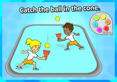FREE PE STATION idea • Catch the ball in the cone • - Throw the ball up in the air and catch it in the air. We've got 60 of the best, most exciting PE and Sport skill  stations for your grades K-3 to explore on, complete with printable station cards and score sheets! https://www.teacherspayteachers.com/Product/PE-Sport-Stations-The-Exploring-Stations-PE-Sport-Skills-Pack-Grades-K-3-2857949 Can use this idea to lead up to field hockey.  Modify it using field scoops and different types of…