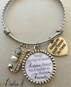 SISTER In Law Gift Big Sister Jewelry Bangle Bracelet Birthday Initial Quote