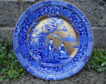 Antique James Kent ye olde foley porcelain ceramic plate flow blue Asian plate…