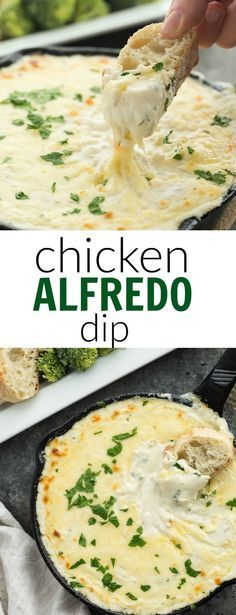 This Cheesy Chicken Alfredo Dip is perfect for game day, movie night, an appetizer or a casual dinner! It's creamy, cheesy, and made from scratch! Perfect with crusty bread or vegetables. | appetizer recipe | game day | superbowl | march madeness | finger food | chicken recipe | dinner | homemade