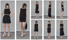 'THE FOLDED LOOKS' - CHIC Flavia La Rocca Four modules that disclose eight different looks. All in a clutch. #flavialarocca #cotton #blackdress #blackclutch #blackskirt