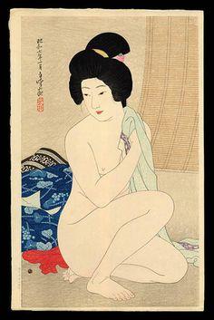 湯上り [1932] 平野白峰(1879 - 1957)After the Bath, by Hirano Hakuho.