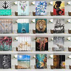 10 Haken Random style print tragbarer wasserdichter Duschvorhang für Badezimmer