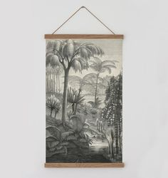 Vintage forest landscape. Palm tree wall chart Vintage wall | Etsy