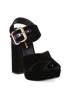 Prada Velvet Platform Slingback Sandals