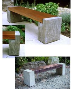 Geodes instead of concrete - wood and concrete bench Concrete Bench, Concrete Furniture, Concrete Projects, Concrete Design, Outdoor Projects, Garden Projects, Garden Furniture, Diy Concrete, Wood Benches