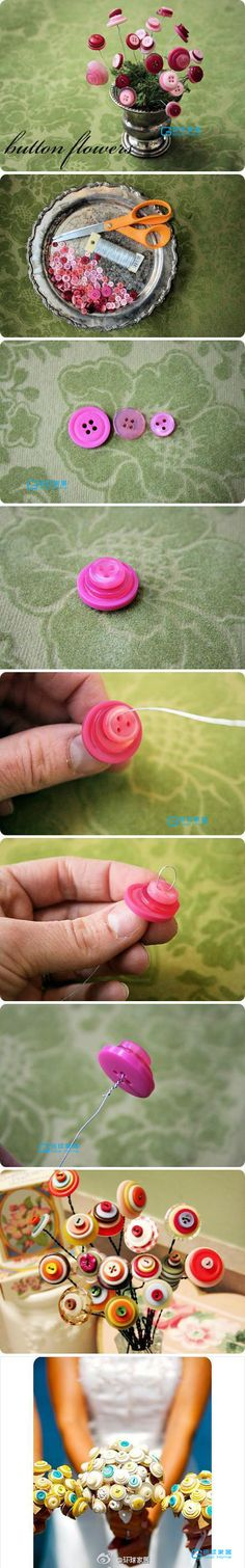 button flowers to make with the girls for their rooms