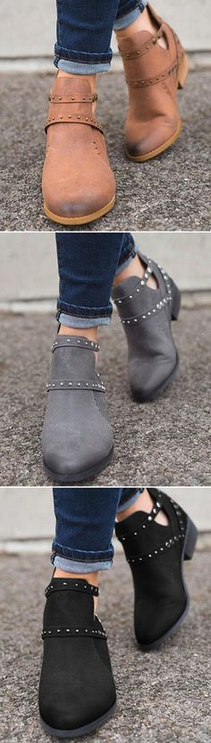 Newly Style Spring Pointed Toe Cool Rivet Zipper Ankle Chunky Heel Faux  Leather Boots 7699db324a2ea