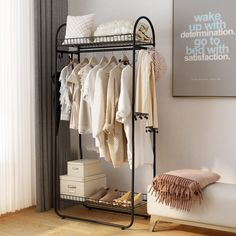 azcad Clothes rack - Compact Free-Standing Garment Rack Made of Sturdy Iron with Spacious Storage Sp