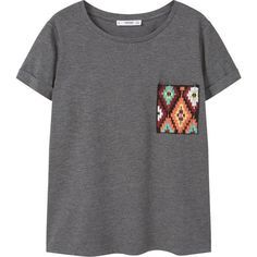 MANGO Patch Pocket T-Shirt ($26) ❤ liked on Polyvore featuring tops, t-shirts, mango t shirt, round top, mango tee, embroidery t shirts and embroidered top