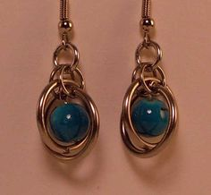 Chainmaille And Blue Glass Bead Dangle Earrings