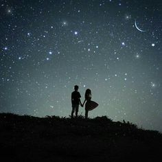 Meet Me…. Meet me under the moonlit sky Souls reunited You and I Torn apart by destiny We shall find Love Cartoon Couple, Cute Couple Art, Cute Couples, Love Wallpaper, Nature Wallpaper, Galaxy Wallpaper, Love Images, Beautiful Pictures, Galaxy Painting