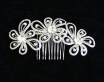 Flower Rhinestone Bridal Hair Comb, Wedding Hair Comb, Bridal Headpiece, Prom
