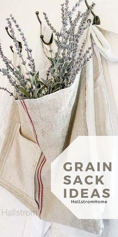Grain Sack Ideas / How to Use A Grain Sack / Grain Sack Bags / Grain Sack Fabric / Grain Sack Totes / Hand Made Bags / Home Made Bags / Hand Made Purse / Grain Sack Purse / HallstromHome French Farmhouse Decor, Farmhouse Style Decorating, Joanna Gaines Style, Fixer Upper Decor, Custom Mirrors, Sack Bag, Grain Sack, Shabby Chic Homes, Handmade Bags