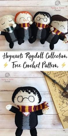 crochet amigurumi dolls Ragdoll Harry Potter Free Crochet Pattern ⚯͛ - Spin a Yarn Crochet - Gather round, witches, wizards, muggles and nomaj folk alike! I have something a little different for you today. Crochet Patterns Amigurumi, Crochet Dolls, Crochet Yarn, Crochet Stitches, Knitting Patterns, Sewing Patterns, Crotchet, Boy Crochet Patterns, Crochet Geek