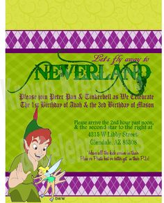 PETER PAN Party INVITATION - Neverland Boys Birthday Party - GirlS Party -  Krown Kreations & Celebrations. $5.00, via Etsy.