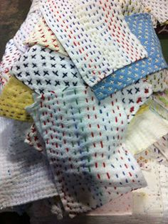 """On display were heaps of """"Chiku Chiku Zokin"""" - traditional dust cloths.  This is sashiko at its most practical."""