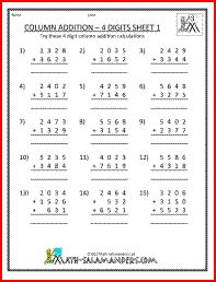 Worksheets Addition Worksheets For 3rd Grade 3rd grade math worksheets for 2nd and column addition worksheet grade