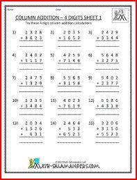 Column Addition Worksheet, addition worksheet 3rd grade