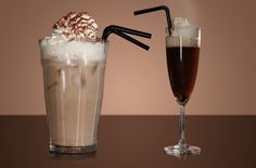 Glasses of iced coffee and Irish coffee - yum...lots of great coffee drink ideas.