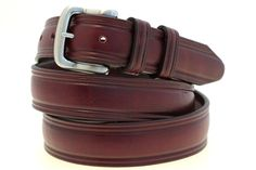 "American Made 1 1/4"" Burgundy Latigo Leather Men's Domed Belt Square Brushed Nickel Buckle Double Loop"