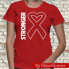 STRONGER Shirt for causes such as AIDS, Blood Cancer, Heart Disease, HIV, Stroke and Vasculitis Awareness. Get the shirt with this empowering message spotlighting our original heart white ribbon outline.