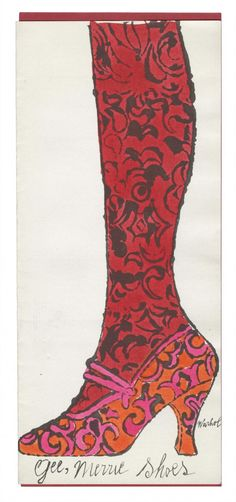 Gee, Merrie Shoes by Andy Warhol, 1956. Offset lithograph with hand-colouring on laid paper | Andy Warhol Foundation for the Visual Arts ©