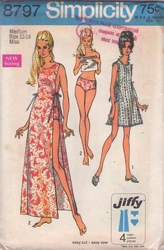 MOMSPatterns Vintage Sewing Patterns - Simplicity 8797 Vintage 70's Sewing Pattern UNIQUE Easy Jiffy Pajamas, Sleep Toga with Tie Sides, Pinup Girl Brief Pants, Sheer Lace Beach Over Dress Size M