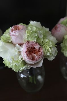 Hand-Tied Bouquet of Hydrangeas and Roses