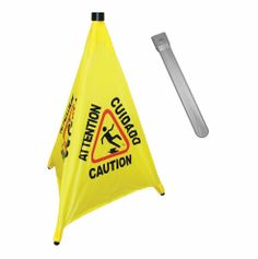 "Creative Safety Supply - 31"" Pop-Up Safety Cone Wet Floor Sign Yellow, $39.99 (http://www.creativesafetysupply.com/31-pop-up-safety-cone-wet-floor-sign-yellow/)"