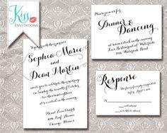 Printable Wedding Invitation Calligraphy Wedding Invitations - modern script invites - DIY Printable