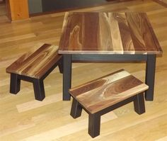 Gorgeous reclaimed wood kids table and chair set.