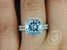 Barra 10mm 14kt White Gold Blue Topaz and Diamond Cushion Halo Wedding Set (Other metals and stone options available)