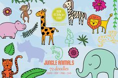 Animal Doodles, Jungle Animals, Animal Drawings, Design Bundles, How To Draw Hands, Tropical, Diy Projects, Clip Art