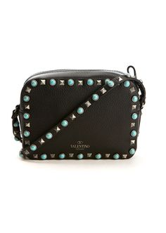 Valentino Shoulder bags :: Valentino Rockstud Rolling black textured leather bag | Montaigne Market