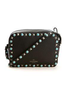 Valentino Shoulder bags :: Valentino Rockstud Rolling black textured leather bag   Montaigne Market