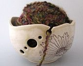 Yarn Bowl - Coreopsis - Botanical - Hand Thrown Ceramic Stoneware Pottery