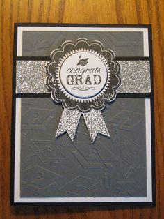 Graduation Handmade Card Award Ribbon College High school Him or Her Handmade Stampin Up on Etsy, $3.49