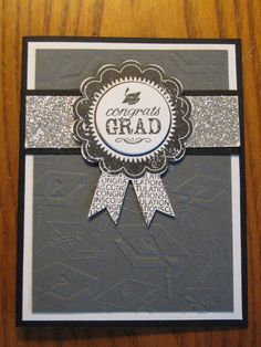 Graduation Handmade Card Award Ribbon College High school Him or Her Handmade Stampin Up on Etsy, $3.49