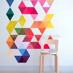 Multi Colored Triangles Mid Century Modern - Moon Wall Stickers